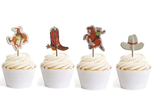 Cowboy Cupcake Toppers Cowgirl Themed Party Decorative 24pcs By GOCROWN -