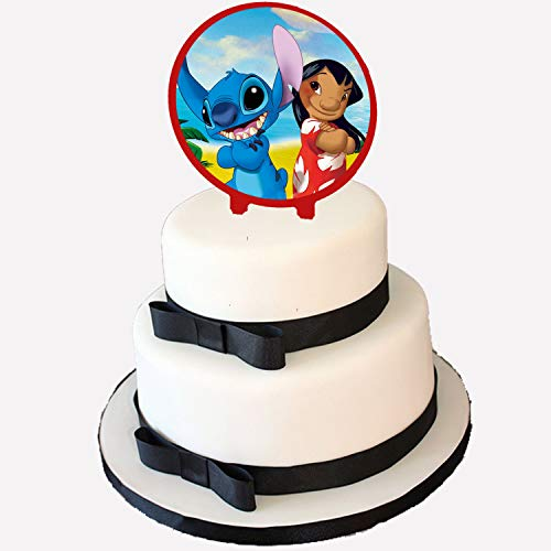 Lilo and Stitch Cake Topper, 6 inch Round Circle 2 Sided Centerpiece Different Images Movie, 1 ()