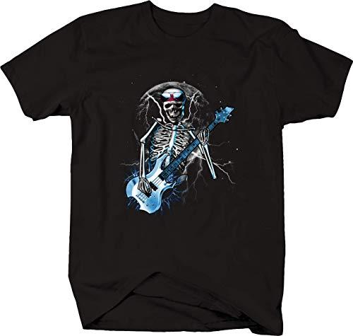 Skeleton Playing Blue Electric Guitar Moon Lightning Rock
