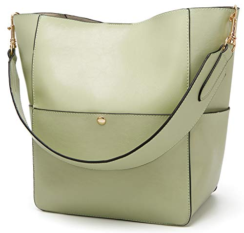 Molodo Women's Satchel Hobo Top Handle Tote Shoulder Purse Soft Leather Crossbody Designer Handbag Big Capacity Bucket Bags (Lightgreen)