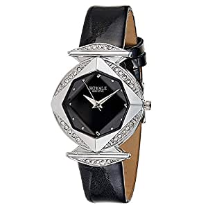 Davena Women's Black Dial Leather Band Watch - 18017