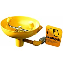 Bradley S19-220 Safety Eye/Face Wash with Plastic Bowl, Wall Mount, 0.4 GPM Water Flow, 15-1/2 Width x 14-19/32 Height