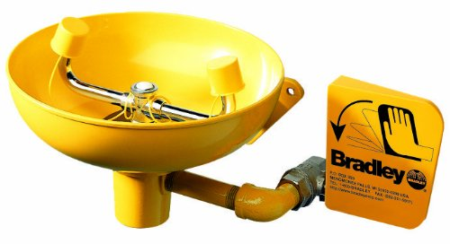 Emergency Eye Wash Wall Mount - Bradley S19-220 Safety Eye/Face Wash with Plastic Bowl, Wall Mount, 0.4 GPM Water Flow, 15-1/2 Width x 14-19/32 Height