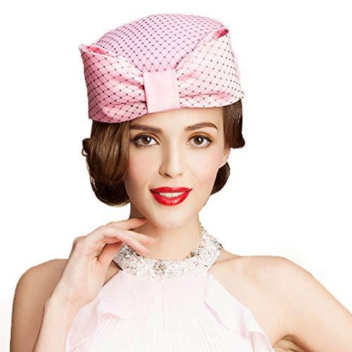 KRASTAL Women Fascinators Pillbox Hat Australian Wool Felt Hats Lady Fedora Bowknot Mesh Stewardess Cap Pink ()