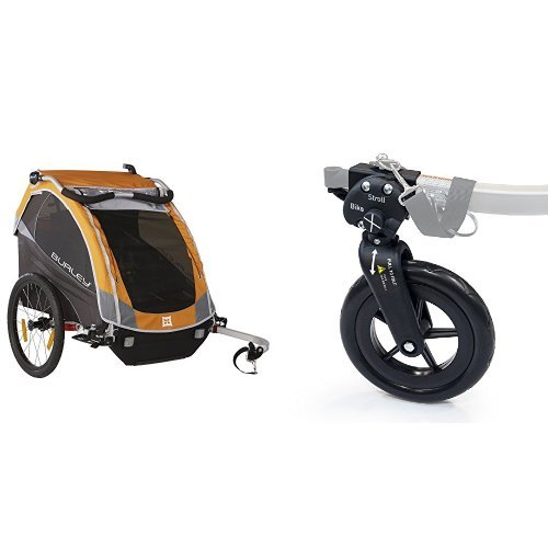 BURLEY D'LITE, ORANGE WITH 1-WHEEL STROLLER KIT by