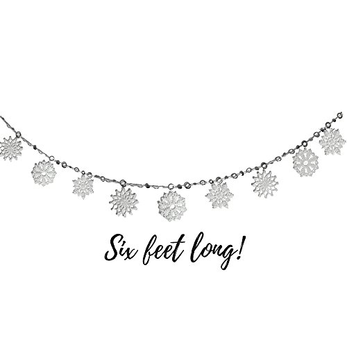 White Snowflake Garland - 6FT Holiday Banner with Glittery White Snowflakes - White Christmas Decorations