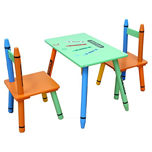 Toddler Sized Bebe Style Kids Wooden Table and Chair Set for Kids, Crayon Theme - Colorful, Stylish, and Easy to Assemble (Green)