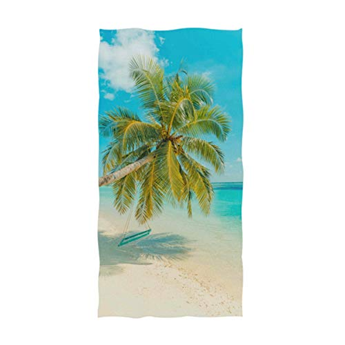 Naanle 3D Stylish Beautiful Beach Palm Tree Print Soft Highly Absorbent Large Decorative Hand Towels Multipurpose for Bathroom, Hotel, Gym and Spa (16