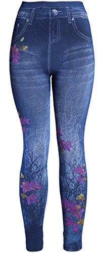 (KMystic Women's Denim Print Fake Jeans Leggings (Mix Flowers) One Size)