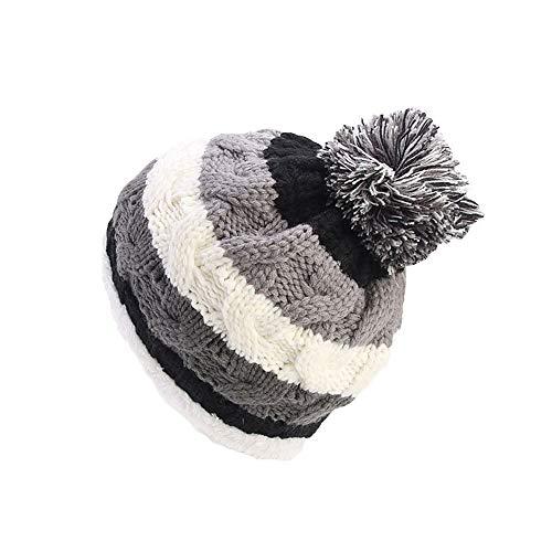 Fheaven Women Knit Slouchy Beanie Chunky Baggy Hat Pompom Winter Soft Warm Color Block Stripe Ski Cap (Grey)
