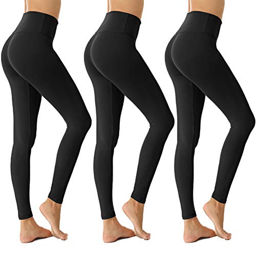 ZOOSIXX Womens High Waisted Leggings for Women-Tummy Control and Elastic Opaque Slim Pants-One/Plus Size 20+ Design (Black3,One Size(US 2-12))