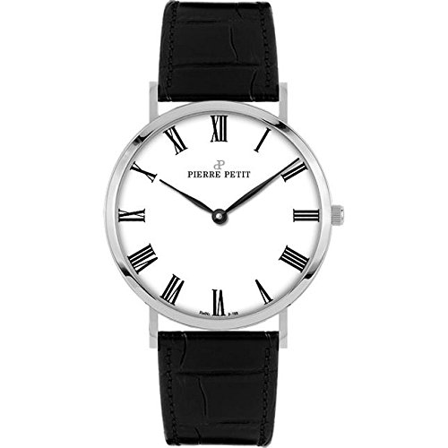 Pierre Petit Women's P-788C Serie Nizza Classic White Dial Black Genuine Leather Watch