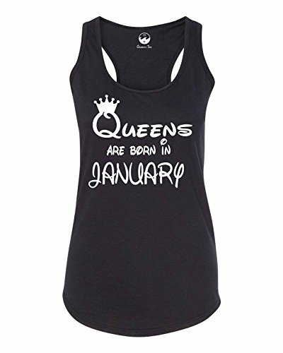 Oceans Tee Queens Are Born in January Girft Birthday Women Men Tee Women RacerBack OT725025 Black Small