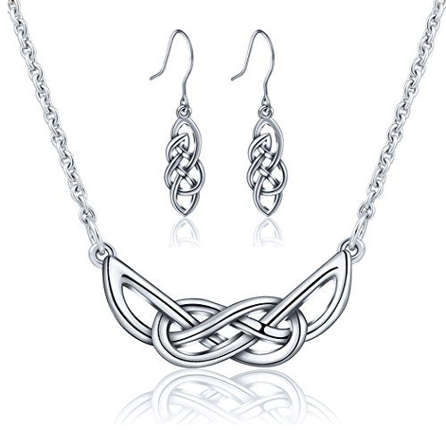 AEONSLOVE 925 Sterling Silver Celtic Knot Pendant Necklace Dangle Drop Earrings Jewelry Set, Gifts for Women Girls