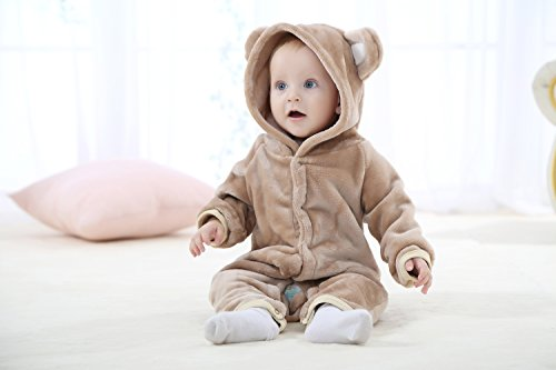 13-18 Months, Brown TSHSUN Baby Girls Boys Toddler Romper Bear Outfit Flannel Style Jumpsuit Autumn /& Winter Cosplay Clothes