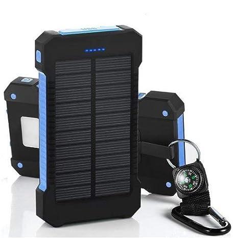 Brujula Linterna LED Colores Varios Verde Cargador Solar y USB movil Portatil con 30000 mAh Power Bank Bateria Externa 2 Puertos de USB Panel Solar con Alta Eficiencia de Conversi/ón Impermeable