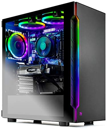 SkyTech Shadow 3.0 Gaming Computer PC Desktop – Ryzen 5 3600 6-Core 3.6GHz, RTX 2060 6G, 1TB SSD, 16GB DDR4 3000, B450 MB, RGB Fans, AC WiFi, Windows 10 Home 64-bit, Black