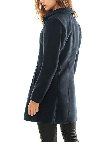 Azul Abrigo Mujer Inclinados Cuello Reversible Allegra Largo para K Bolsillos z86wqnOx75