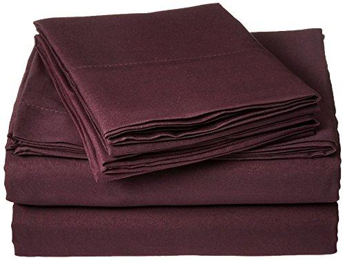 Anili Mili's Triple Stitch Embroidery Affordable 4 PC Bed Sheet Set - Full Size, Eggplant