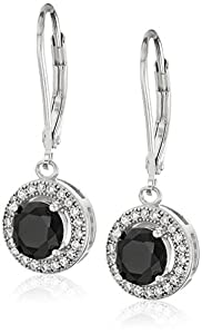 Sterling Silver 10mm Created Cubic Zirconia and Jet Earrings
