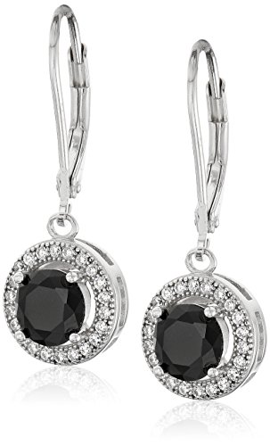 Sterling Silver AAA Created Cubic Zirconia and Jet Earrings (1.9 cttw)