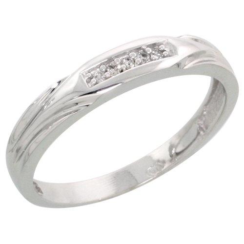 Sterling Silver ladies Diamond Wedding Band Rhodium finish, 1/8 inch wide