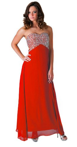 Faship Womens Crystal Beaded Full Length Evening Gown Formal Dress