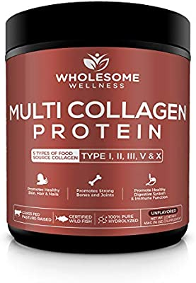 Multi-Collagen Protein Powder Hydrolyzed - Type I, II, III, V, X - Grass-Fed All-in-One Super Bone Broth + Collagen - Premium Quality Blend of Grass-Fed Beef, Chicken, Wild Fish and Eggshell Collagen