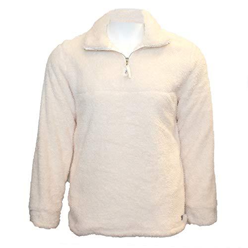 Islanders Comfy Sherpa 1/4 Zip Pullover with Pockets, Cream, Medium