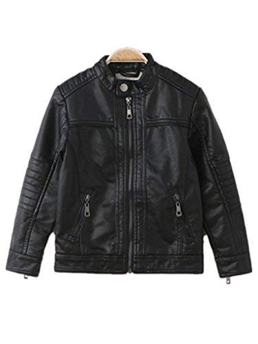 Boy's Moto Trendy Stand-Collar PU Leather Spring Moto Jacket
