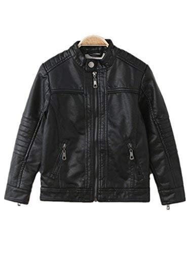 Boy's Moto Trendy Stand-Collar PU Leather Spring Moto Jacket -