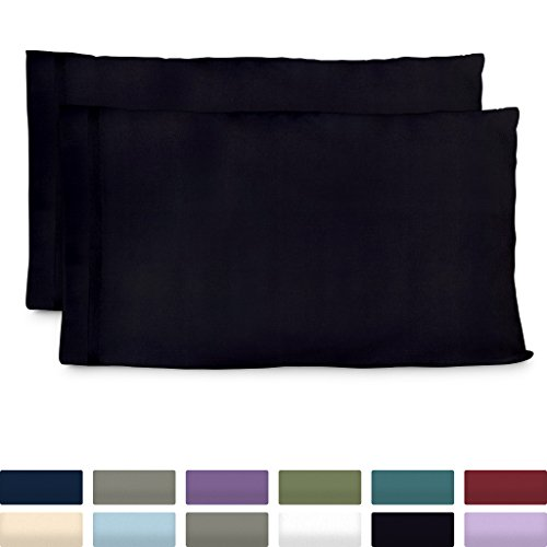 Cosy House Collection Premium Bamboo Pillowcases - King, Black Pillow Case Set of 2 - Ultra Soft & Cool Hypoallergenic Blend from Natural Bamboo Fiber