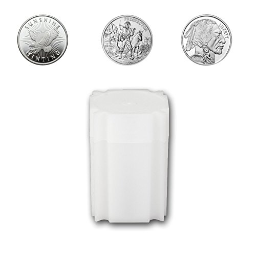 (5) Coinsafe Brand Square White Plastic (Medallion) Size Coin Storage Tube Holders ()
