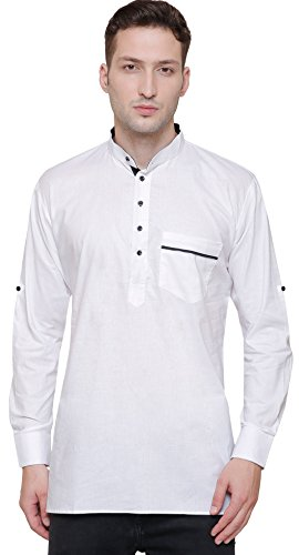 Cotton Men's Designer Short Kurta Fashion Indian Clothing (White, L)