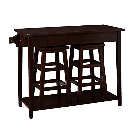 Southern Enterprises, Inc. Breakfast 3pc Set - Espresso (Table Breakfast With Stools)