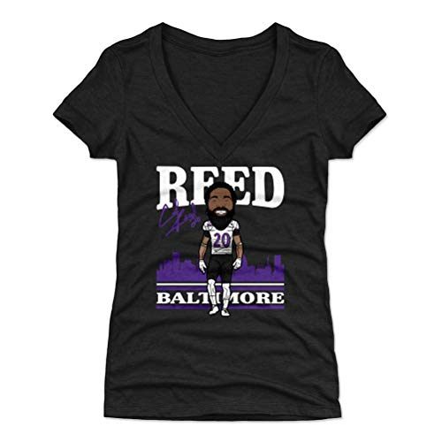 500 LEVEL Ed Reed Women's V-Neck Shirt (Large, Tri Black) - Baltimore Ravens Shirt for Women - Ed Reed Toon P - Reed Jersey Ed