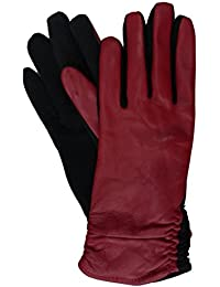 Womens Ruched Red Leather Tech & Text Smart Gloves