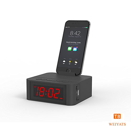 Alarm Clock, SmartSet Alarm Clock Radio with Bluetooth Speaker, hands free,Phone Chargers with USB port for iPhone/Android and Tablets (Black)