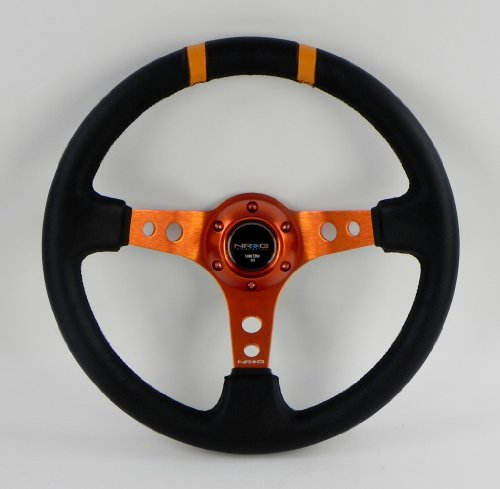 NRG Steering Wheel - 16 (Deep Dish) - 350mm (13.78 inches) - Black Leather with Orange Spokes/Orange Double Center Markings - Part # ST-016R-OR -