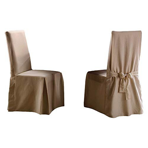 Sure Fit Sailcloth Long Dining Room Chair Natural