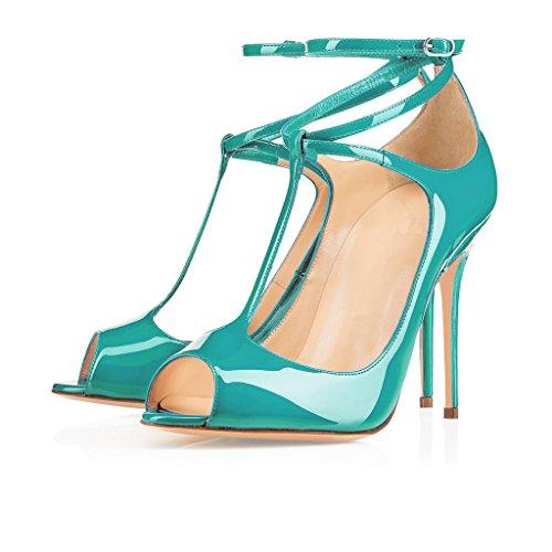 Eldof Womens High Heel Sandals| Peep Toe T-Strap 10cm Pumps | Ankle Buckle Wedding Dress Shoes Blue Nx9Uyjwu