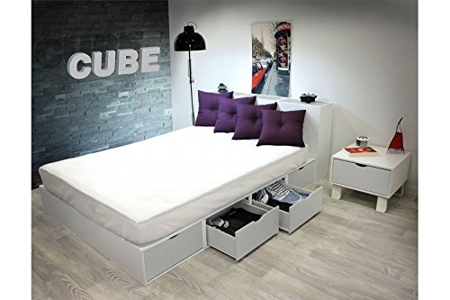 ABC MEUBLES - Bett 140 x 200 Boxen mit Schubladen - LITCUBLB - Gris Aluminium, 140x200