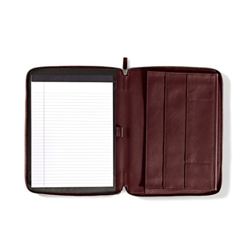 Left Handed Executive Zippered Portfolio - Full Grain Leather Leather - Burgundy (brown) by Leatherology