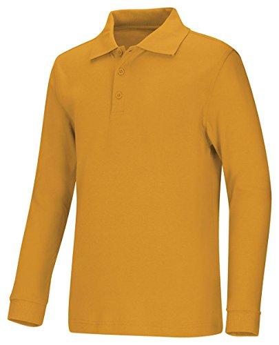 Classroom Uniforms 58732 Youth's LS Interlock Polo Gold Medium
