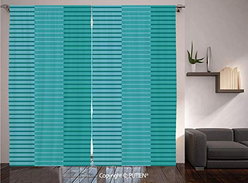 PUTIEN Thermal Insulated Blackout Window Curtain [ Abstract Decor,Abstract Stripes Pattern Digital Image in, Light Blue and Kelly Green ] for Living Room Bedroom Dorm Room Classroom Kitchen - Chicago Kelly Cubs Green