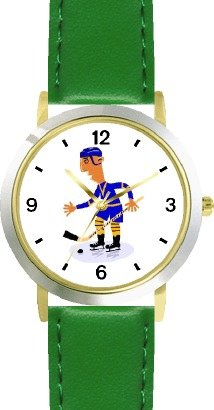 Hockey Player Cartoon Ice Skating Theme Ice Skating - WATCHBUDDY® DELUXE TWO-TONE THEME WATCH - Arabic Numbers - Green Leather Strap-Children's Size-Small ( Boy's Size & Girl's Size )