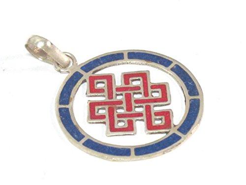 (1 Pendant - Round thin disc shape Tibetan infinity Endless knot pendant - PM307E)