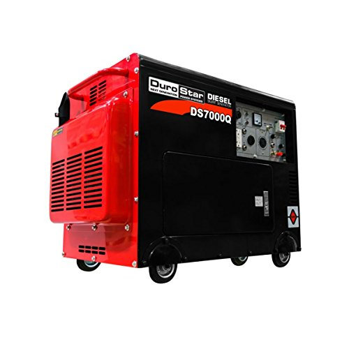 DuroStar DS7000Q 6,500 Watt Enclosed Portable Diesel Generator, Black/Red