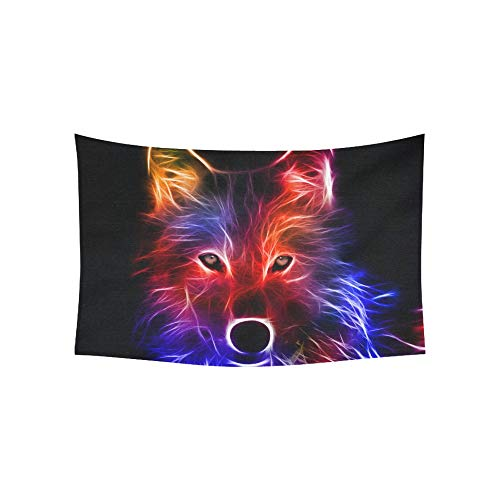 (VNASKL Tapestry Best D Animal Wallpaper Hd Animated Colorful Fox Tapestries Wall Hanging Flower Psychedelic Tapestry Wall Hanging Indian Dorm Decor for Living Room Bedroom 60 X 40 Inch)
