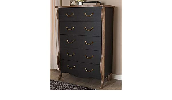 Amazon.com: Chester Drawers - Black Oak Brown Wood Five ...